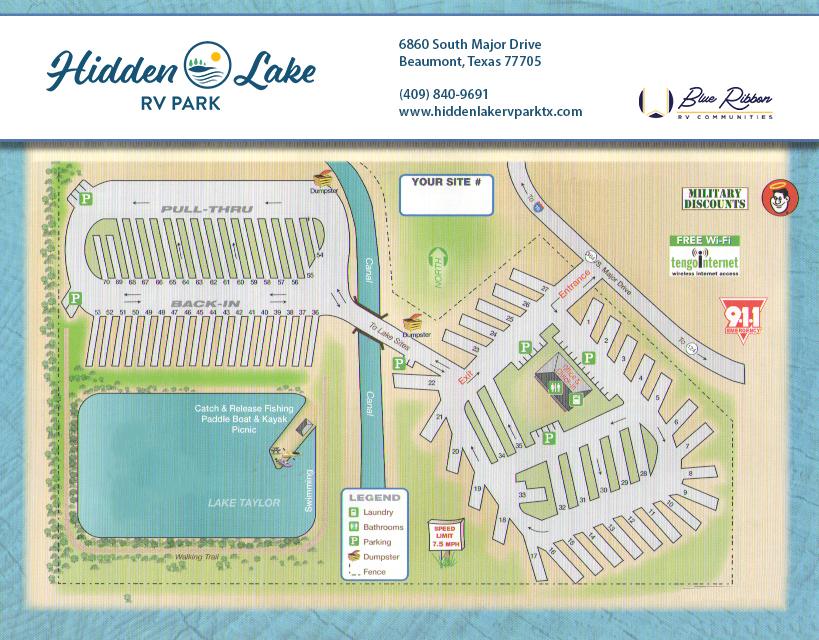 Hidden Lake RV Park Map